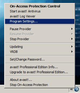 avast! Antivirus right-click menu