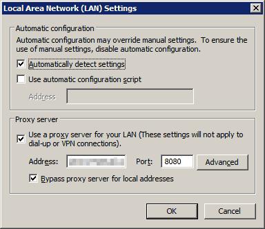 Internet Explorer LAN Proxy Settings